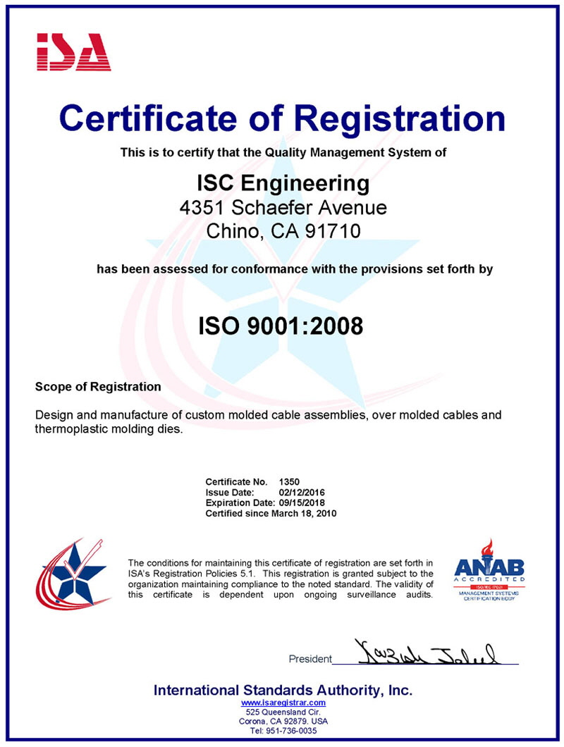 ISC Engineering 2016 ISO 9001 2008 Certification